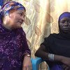 Bol  nchini Chad, wakati wa ziara hiyo Naibu Katibu Mkuu Amina J. Mohammed (kushoto) akizungumza na Halima Yakoy Adam ambaye ni manusura wa shambulio alilopangiwa kufanya na Boko Haram