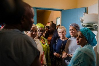 UN Deputy Secretary-General Amina Mohammed (2nd from right) stands with (to her right) Margot Wallström, Minister for Foreign Affairs of Sweden; & Bineta Diop, AU Special Envoy for Women, Peace & Security, at the National Fistula Centre in Niamey, Niger.
