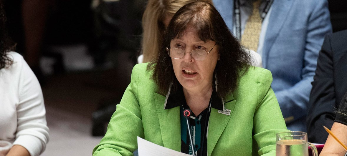 Virginia Gamba, Special Representative of the Secretary-General for Children and Armed Conflict, addresses the Security Council meeting on the issue. July 9, 2018.