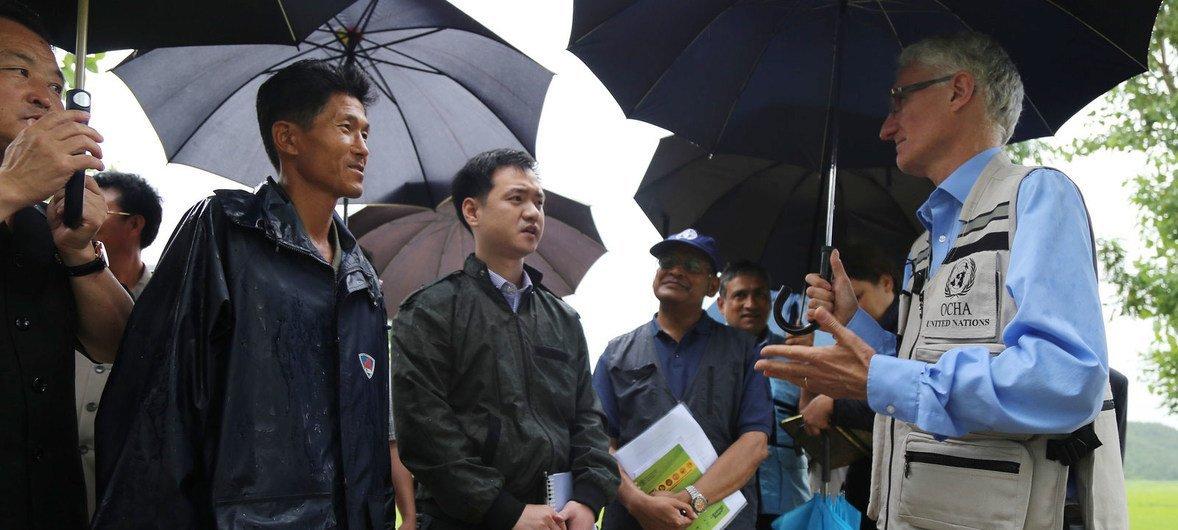 O chefe humanitário da ONU, Mark Lowcock, visitou uma cooperativa na província de Hwanghae Sul, na Coreia do Norte.