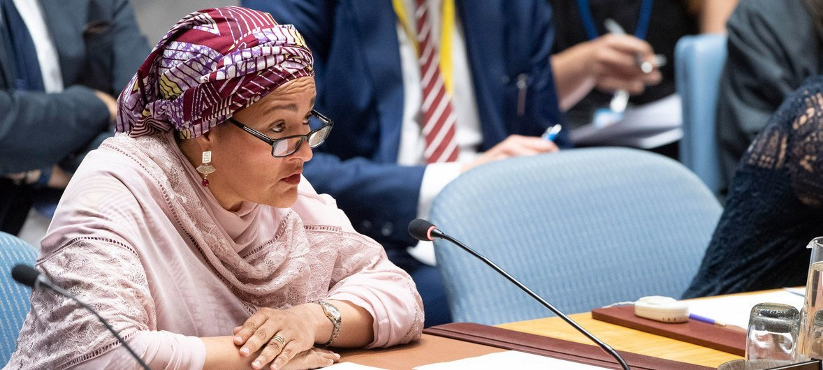Deputy Secretary-General Amina Mohammed briefs the Security Council meeting on  understanding and addressing climate-related security risks.