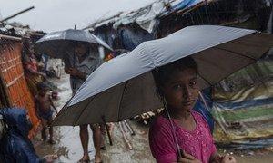 孟加拉国考克斯巴扎难民营,一个罗兴亚难民女孩站在瓢泼大雨中。