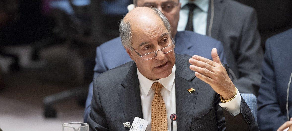 حسن الجنابي وزير الموارد المائية العراقي يتحدث في جلسة مجلس الأمن الدولي حول تأثير تغير المناخ على السلم والأمن الدوليين. 11 يوليو 2018