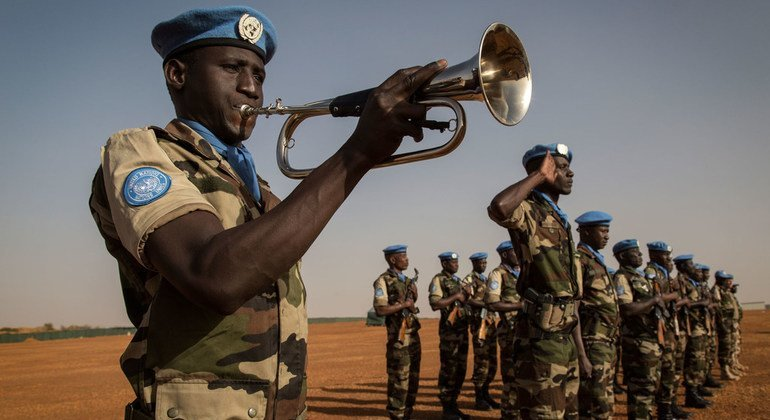 UN peacekeepers from Niger stand at attention at the Niger Battalion Base in Ansongo, in eastern Mali, in February 2015.