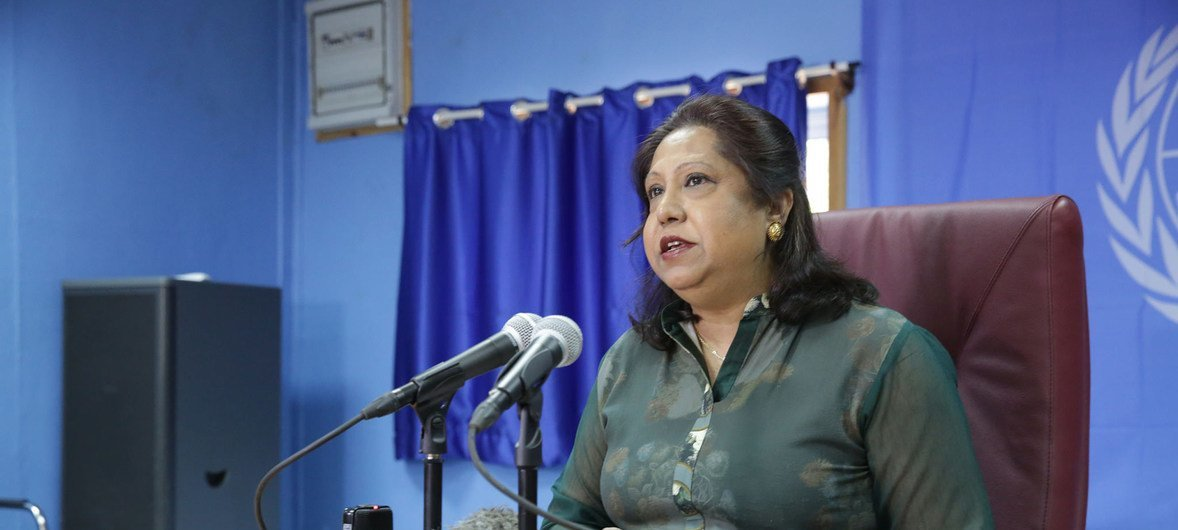 Pramila Patten, Special Representative of the Secretary-General on Sexual Violence in Conflict, gives a press conference during her visit to South Sudan, 6 July 2018.