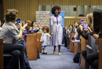 """Models at the event """"Fashion and Sustainability: Look Good, Feel Good, Do Good"""" held on 16 November 2017 at UN Headquarters in New York."""