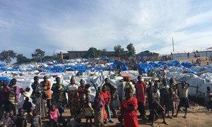 Un site de personnes déplacées à l'hôpital général de Bunia, la capitale de la province de l'Ituri, dans l'est de la RDC.