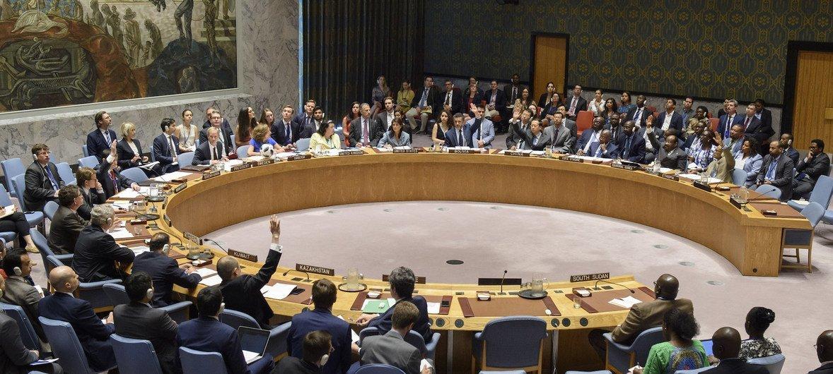 مجلس الأمن يعتمد القرار 2428 (2018) بتجديد العقوبات المفروضة على جنوب السودان وتمديد ولاية فريق الخبراء.