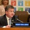 Le Président de l'Assemblée générale des Nations Unies, Miroslav Lajčák, s'exprimant à l'ouverture de la réunion ministérielle du Forum politique de haut niveau sur le développement durable 2018.