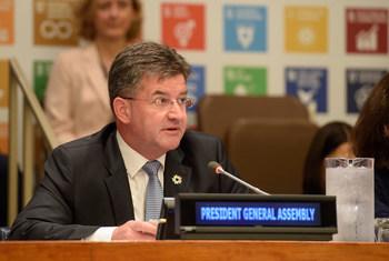 联合国大会主席米罗斯拉夫·莱恰克资料图片。图为莱恰克在2018年可持续发展问题高级别政治论坛部长级会议开幕式上致辞。