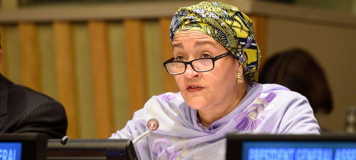 联合国副秘书长阿米纳·穆罕默德在2018年可持续发展问题高级别政治论坛部长级会议开幕式上致辞。