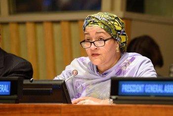 La Vice-Secrétaire générale de l'ONU, Amina J. Mohammed, au Forum de haut niveau sur le développement durable.