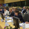 Rosemary DiCarlo (second from right), Under-Secretary-General for Political Affairs, addresses the Somalia Partnership Forum in Brussels, Belgium.
