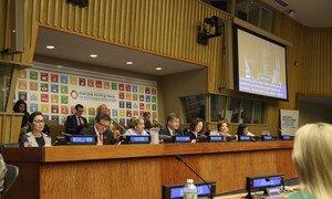 Left to right: Keynote Speaker Michelle Yeoh, USG Liu Zhenmin (DESA), DSG Amina Mohammed, PGA Miroslav Lajčák, ECOSOC President Marie Chatardová, USG Catherine Pollard (DGACM) and UN Youth Envoy Jayathma Wickramanayake at the Ministerial segment of 2018 HLPF on Sustainable Development.