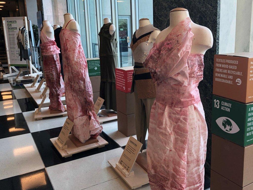 在联合国机构支持的一个展览中,设计师用木质纤维制成的纺织品来设计时装。