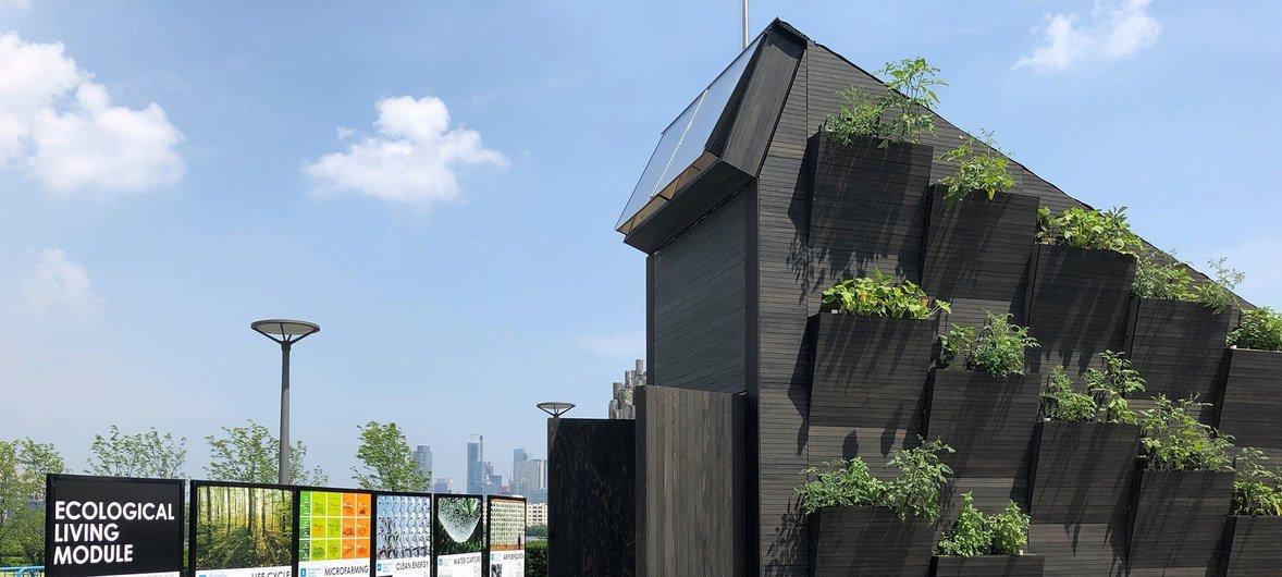 Modelo de casa sostenible expuesta en la sede de las Naciones Unidas en Nueva York. Este módulo ecológico es una iniciativa del Programa de la ONU para el Medio Ambiente (PNUMA) y la Universidad de Yale.