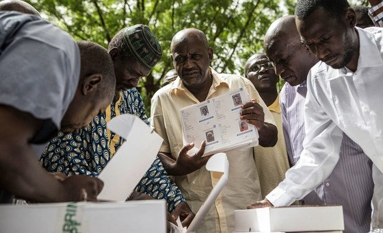 Voting cards are readied for distribution in the July 2018 presidential election in Mali.