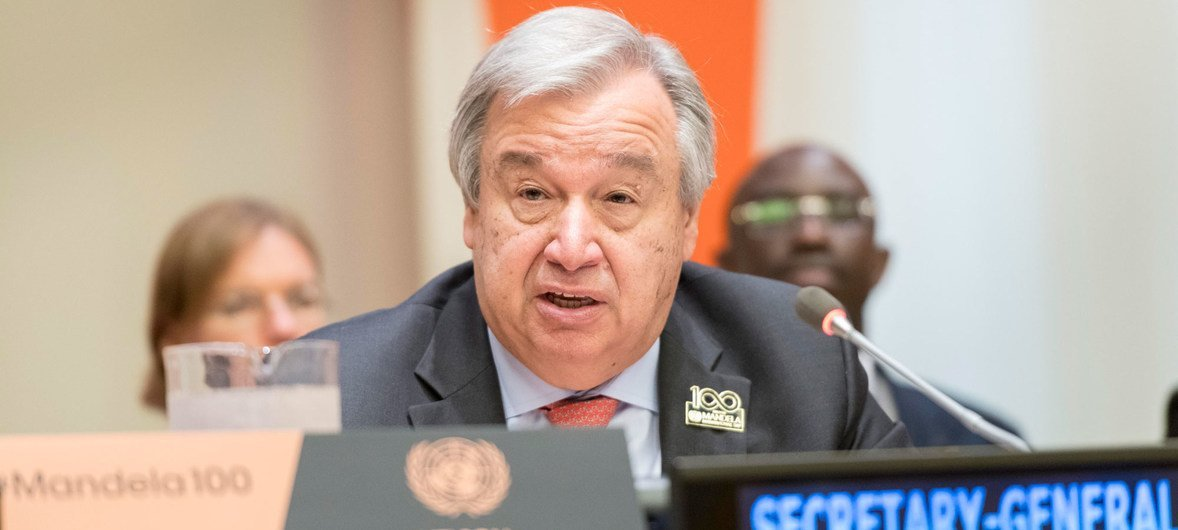 Secretary-General António Guterres addresses participants on the occasion of the annual Nelson Mandela International Day.