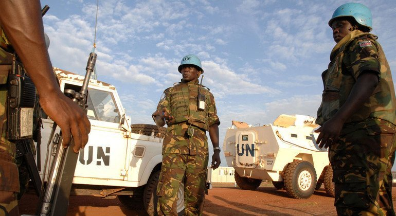 Kenyan troops serving with the UN Mission in Sudan (UNMIS) patrol the disputed area of Abyei, claimed by both Sudan and South Sudan.