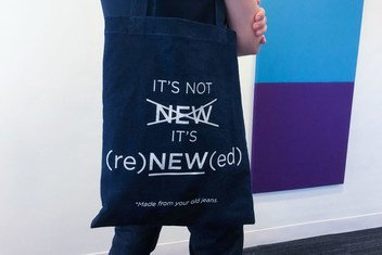 Bag made from recycled denim distributed by The Alliance for Responsible Denim at their stand on the margins of the 2018 High Level Political Forum at UN Headquarters in New York.  July 2018.