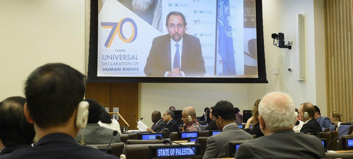 联合国人权事务高级专员扎伊德今天通过视频在巴勒斯坦人民行使不可剥夺权利委员会第390次会议上发表讲话。