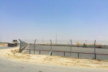 El cruce fronterizo de Kerem Shalom, donde han sido bloqueados los insumos de combustible.
