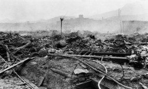 The smoldering ruins of Nagasaki, about 700 metres from the hypocentre of the explosion, as seen on 10 August 1945.