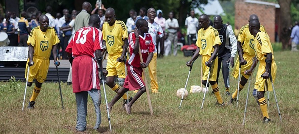 Members of the disabled community play a game of football in Kayunga District, Uganda.