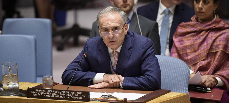 Jean Arnault, el representante especial del Secretario General en Colombia, durante la presentación del informe trimestral al Consejo de Seguridad