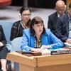 فيرجينيا غامبا الممثلة الخاصة للأمين العام للأمم المتحدة المعنية بالأطفال والصراعات المسلحة، تتحدث أمام مجلس الأمن الدولي حول وضع الأطفال في سوريا. يوليه/تموز 2018