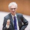 مارك لوكوك وكيل الأمين العام للشؤون الإنسانية في قاعة مجلس الأمن. 27 يوليه/تموز 2018