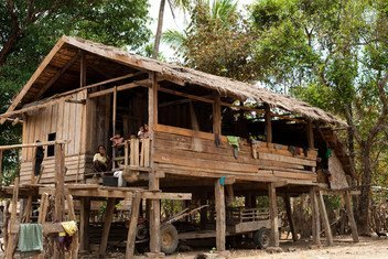2011 photo of a typical village home in Attapeu province, Lao People's Democratic Republic. Tropical Storm Son-Tinh caused heavy rainfall, resulting in a dam breach on Monday that destroyed entire villages.  Floods were particularly severe in 13 villages in Sanamxay district, in Attapeu province.