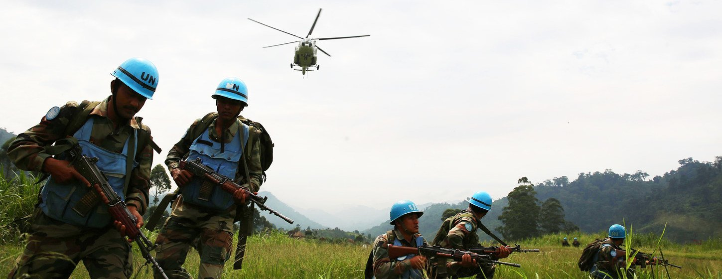 Indian peacekeepers in the Democratic Republic of the Congo secure a helicopter landing site in the far east of the country in 2015.