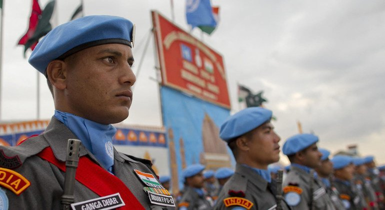 Indian peacekeepers at a medal ceremony in recognition of their service to the United Nations Mission in Haiti, 2012.