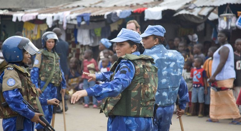 Women police officers from India on patrol in Monrovia, Liberia in 2007 as part of the UN peacekeeping mission, UNMIL.