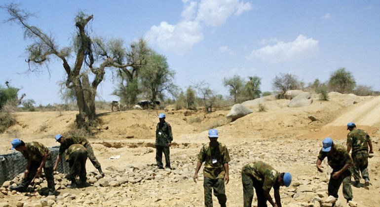 United Nations Mission in Eritrea and Ethiopia  (UNMEE) Indian Battalion (INDBAT) engineering platoon reconstructs the access routes in the region of Barentu. May 2001.