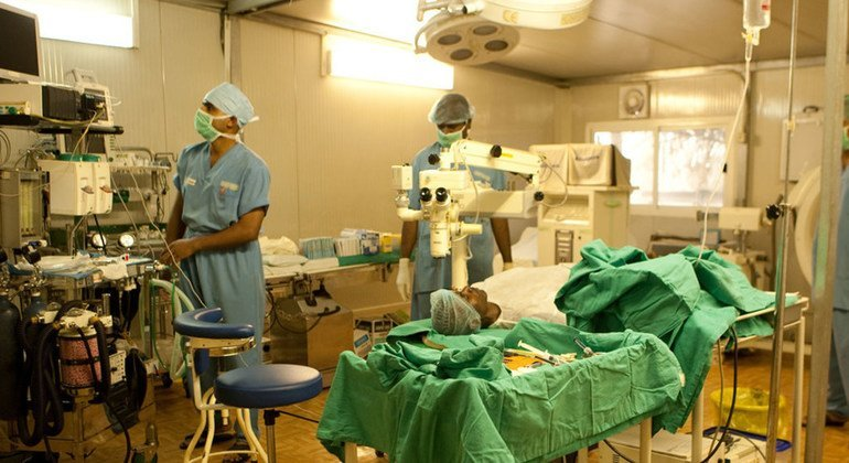 Indian doctors at the UN peacekeeping mission in the Democratic Republic of the Congo perform cataract surgery on local people.