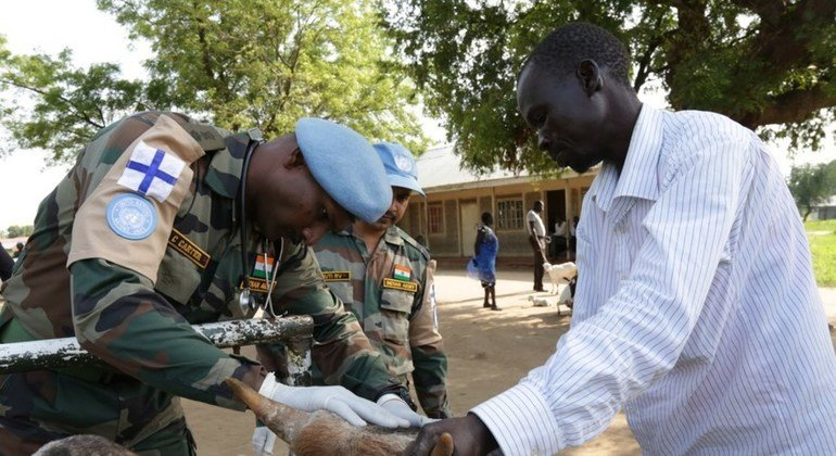 Indian peacekeepers providing much-needed veterinary support to local farmers and cattle breeders in South Sudan.