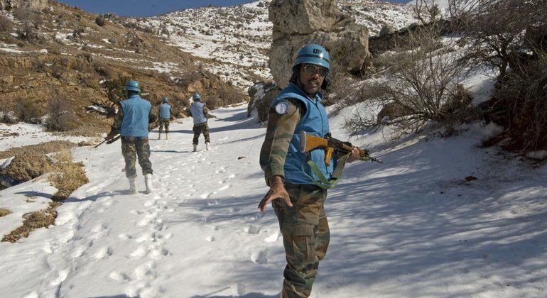 UNIFIL Indian peacekeepers on a foot patrol up to the UN position near Chebaa, south Lebanon.