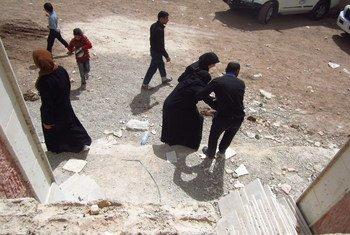 Abrigo para pessoas deslocadas em Ghouta Oriental, na Síria.