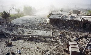 A partial view of the exterior of the United Nations headquarters in Baghdad that was destroyed by a truck bomb on 19 August 2003.