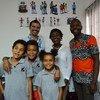 Protagonistas da radionovela com o apoio do Unicef.