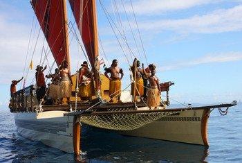 The Fijian vessel Uto ni Yalo sailing into harbour.