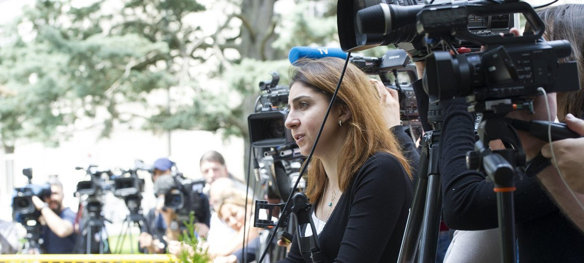 Journalists being briefed during Intra-Syrian talks at the UN Office at Geneva in 2017.