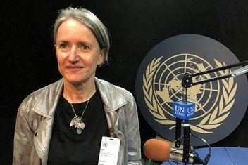 """South African journalist and author Sahm Venter, Senior Researcher with the Nelson Mandela Foundation and editor of the newly published book, """"The Prison Letters of Nelson Mandela"""", in the UN News studio at UN Headquarters in New York, 20 July 2018."""
