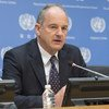 David Shearer, head of the United Nations Mission in South Sudan (UNMISS) speaks at a press conference at UN Headquarters in New York, 26 April 2017.