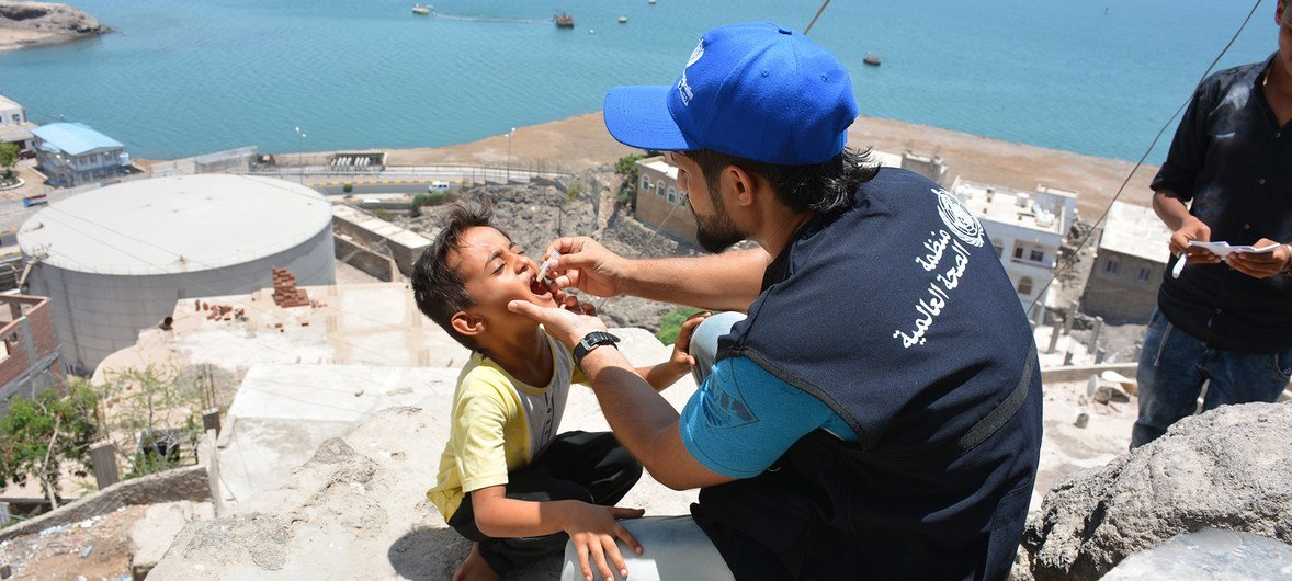 On 7 May 2018 in Aden, Yemen, a boy is vaccinated against cholera. UNICEF and WHO, in partnership with Yemen's Ministry of Health, began another oral vaccination campaign the following August.