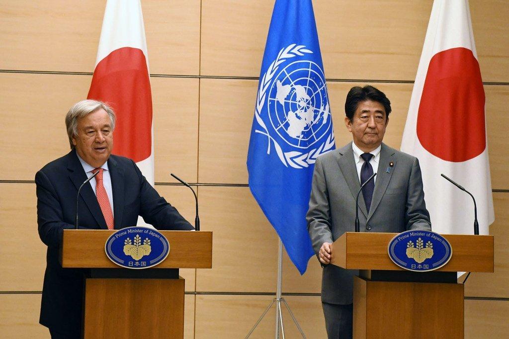 联合国秘书长古特雷斯和日本首相安倍晋三在东京举行联合记者会。