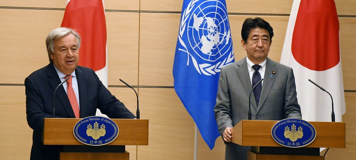 Secretary-General António Guterres (left) and Prime Minister Shinzo Abe of Japan brief the media at a joint press conference in Tokyo.