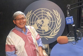 Prasert Trakansuphakon of the Sgaw Karen people at UN Headquarters in New York for the International Day of the World's Indigenous People.